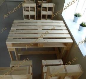 Комплект стол и стулья в стиле паллет