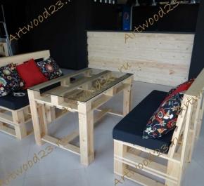 Комплект стол и 2 дивана в стиле паллет